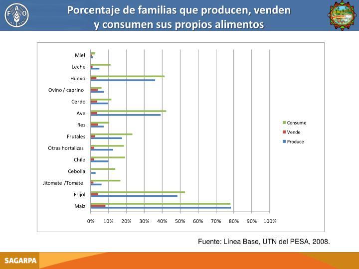 Porcentaje de familias que producen, venden