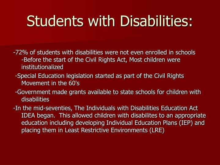 Students with Disabilities: