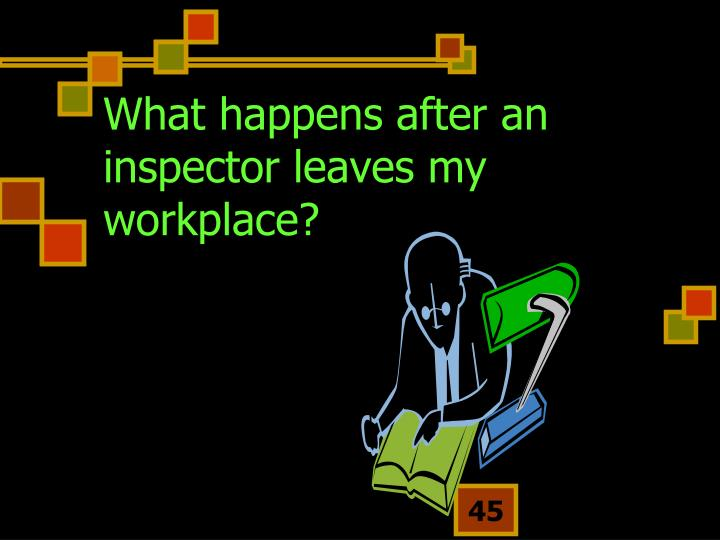 What happens after an inspector leaves my workplace?