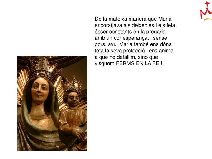 De la mateixa manera que Maria encoratjava als deixebles i els feia ésser constants en la pregària amb un cor esperançat i sense pors, avui Maria també ens dóna tota la seva protecció i ens anima a que no defallim, sinó que visquem FERMS EN LA FE!!!