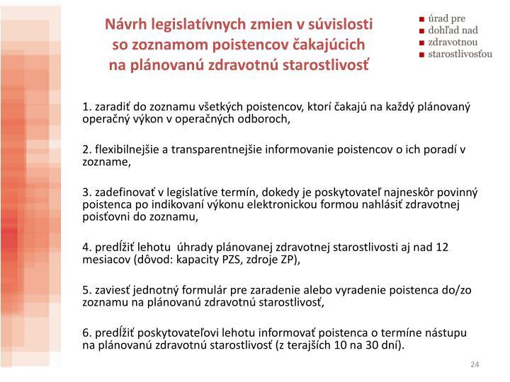 Návrh legislatívnych zmien vsúvislosti