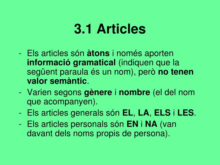 3.1 Articles