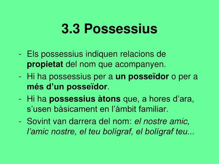 3.3 Possessius