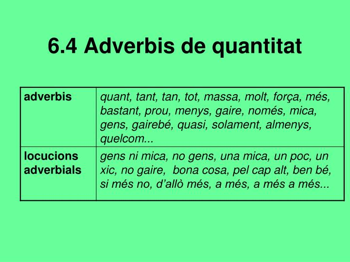 6.4 Adverbis de quantitat