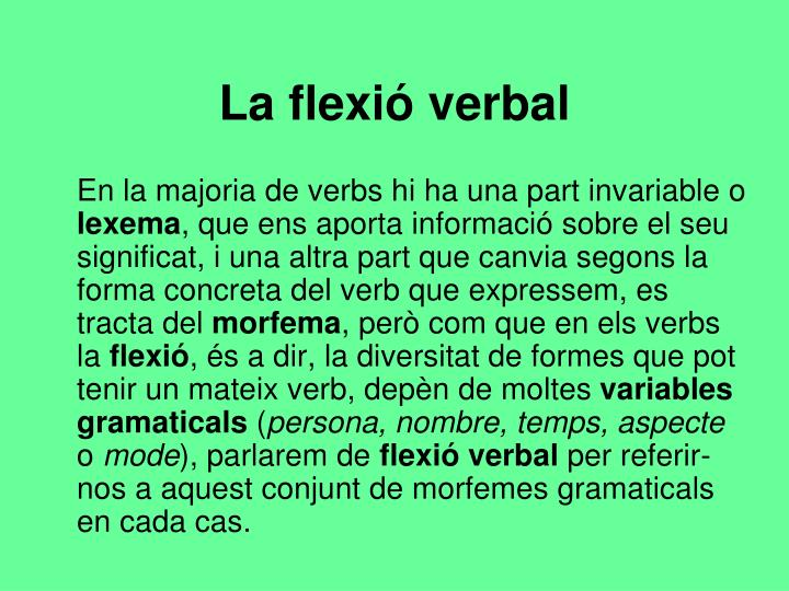 La flexió verbal