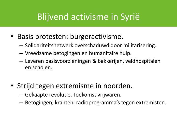 Blijvend activisme in Syrië