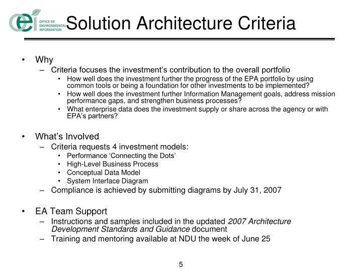 Solution Architecture Criteria