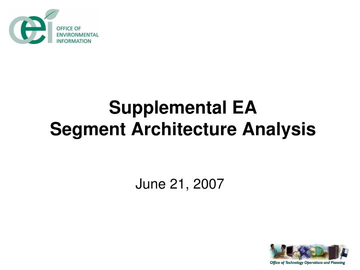 Supplemental ea segment architecture analysis