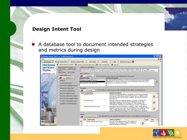 Design Intent Tool