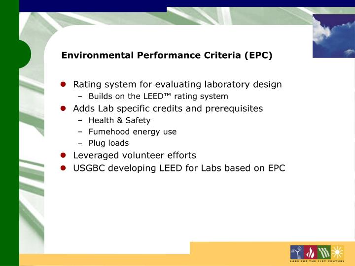 Environmental Performance Criteria (EPC)