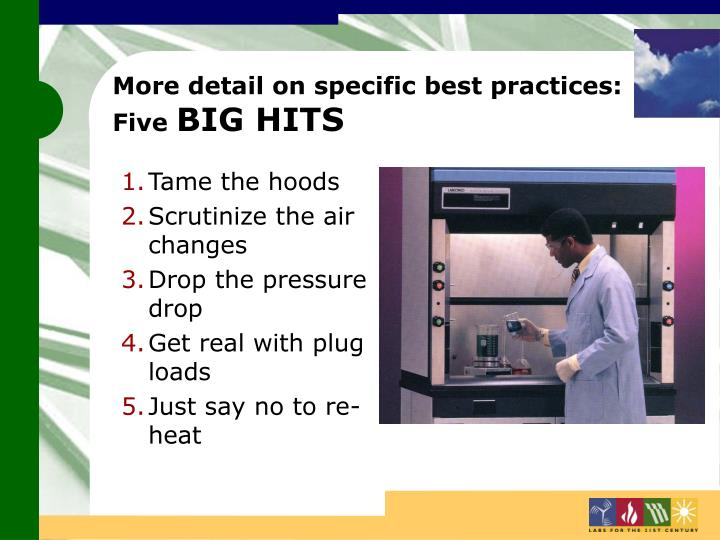 More detail on specific best practices: