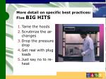 more detail on specific best practices five big hits