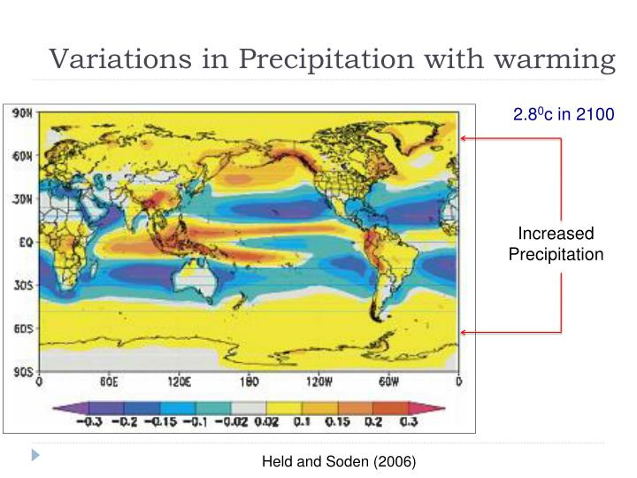 Variations in Precipitation with warming