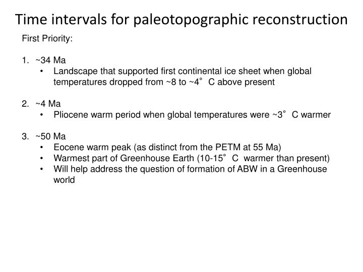 Time intervals for paleotopographic reconstruction