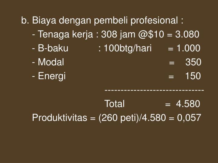 b. Biaya dengan pembeli profesional :