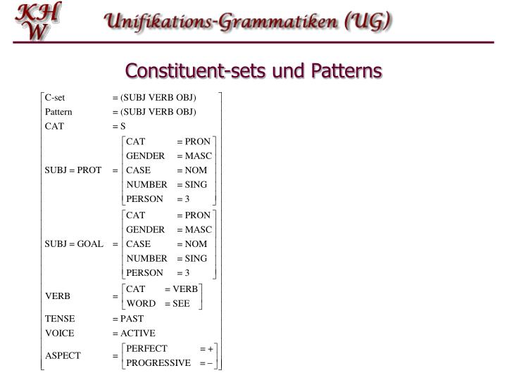 Constituent-sets und Patterns