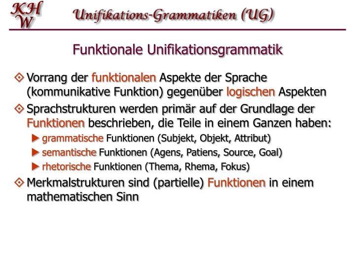 Funktionale unifikationsgrammatik1