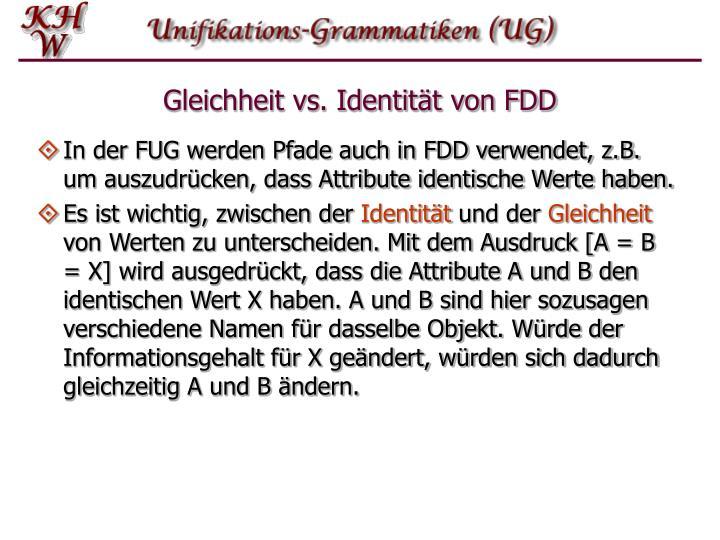 Gleichheit vs. Identität von FDD