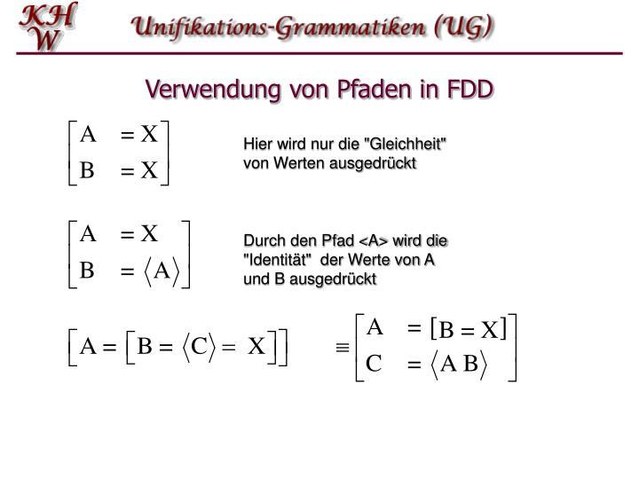 Verwendung von Pfaden in FDD
