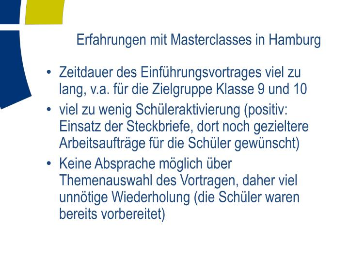 Erfahrungen mit Masterclasses in Hamburg