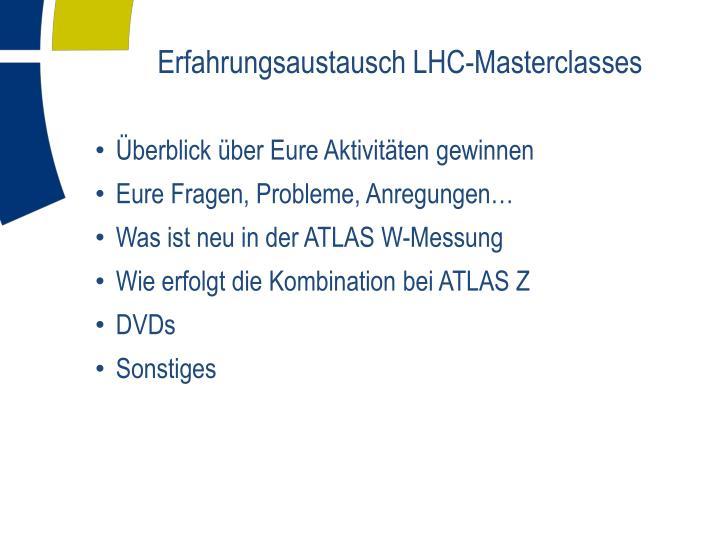 Erfahrungsaustausch LHC-Masterclasses