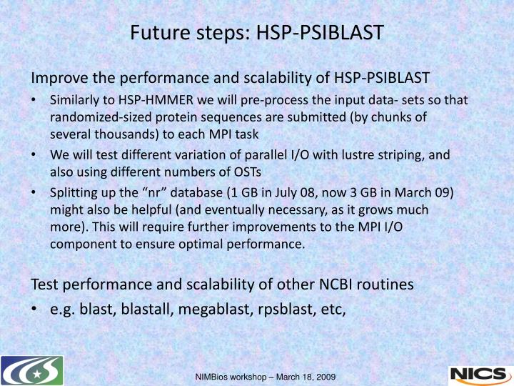 Improve the performance and scalability of HSP-PSIBLAST