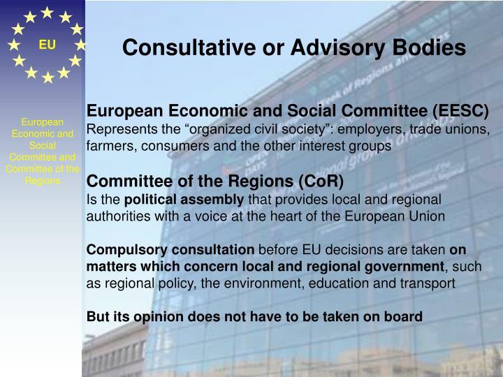 Consultative or Advisory Bodies