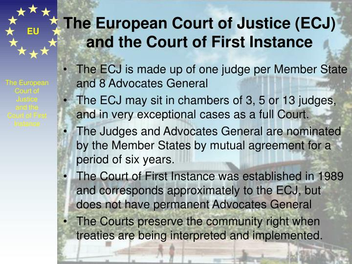 The European Court of Justice (ECJ) and the Court of First Instance