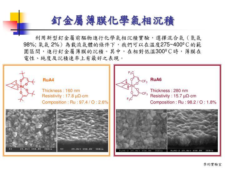 釕金屬薄膜化學氣相沉積