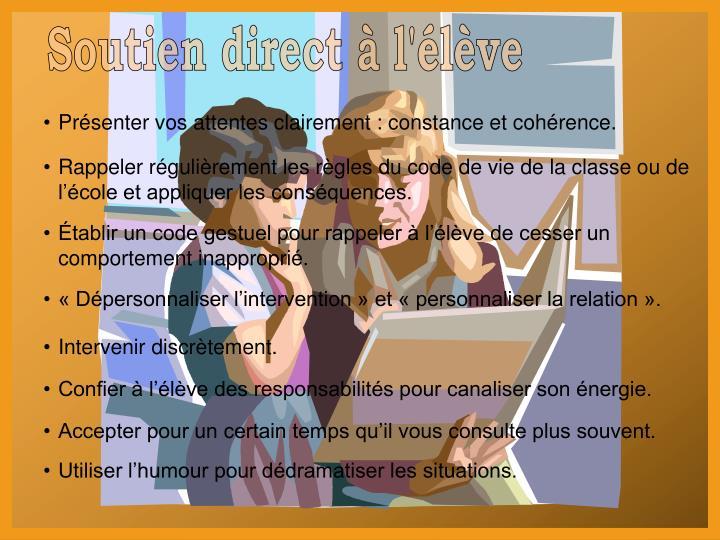 Soutien direct à l'élève