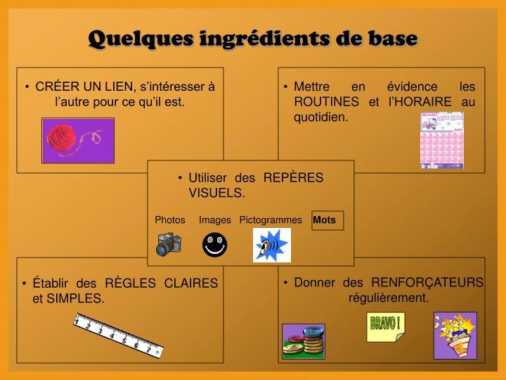 Quelques ingrédients de base