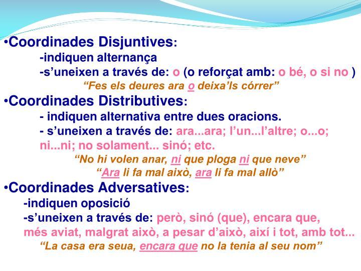 Coordinades Disjuntives