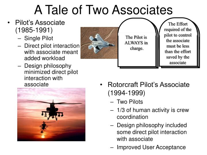The Effort required of the pilot to control the associate must be less than the effort saved by the associate
