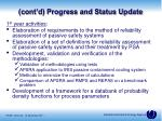 cont d progress and status update1