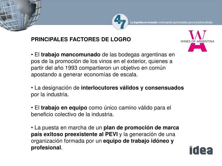 PRINCIPALES FACTORES DE LOGRO