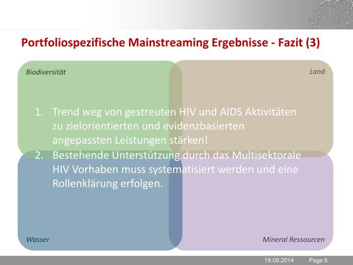 Portfoliospezifische Mainstreaming Ergebnisse - Fazit (3)
