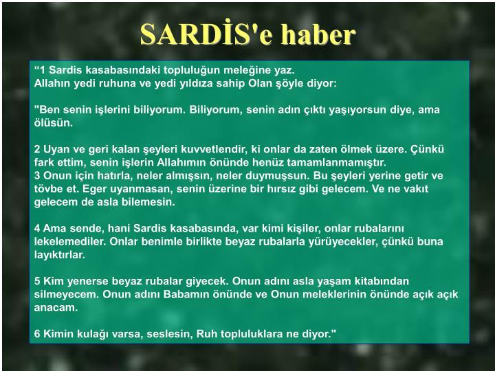 SARDİS'e haber