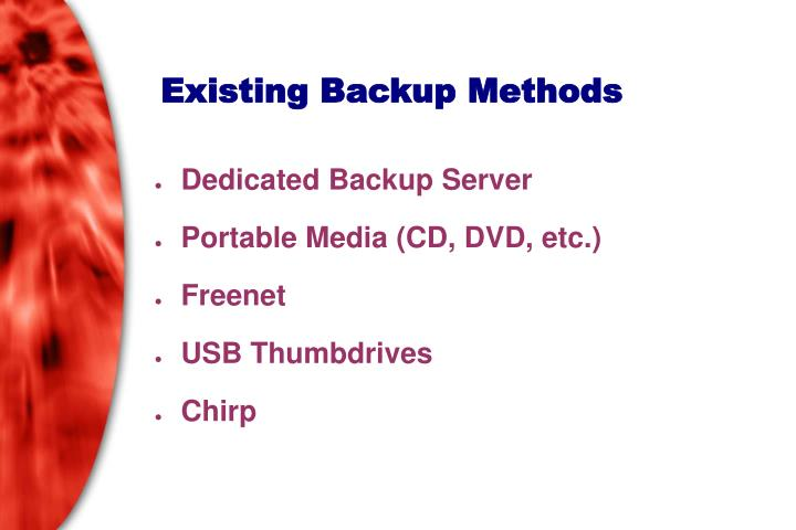 Existing Backup Methods