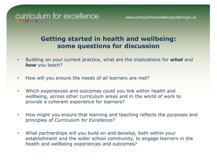 Getting started in health and wellbeing: