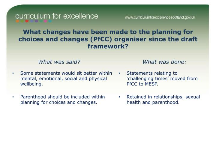 What changes have been made to the planning for choices and changes (PfCC) organiser since the draft framework?