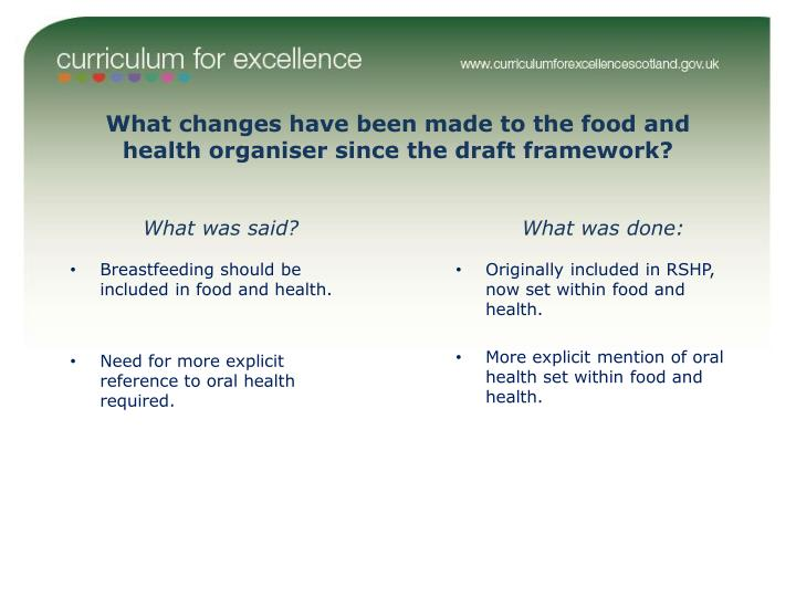 What changes have been made to the food and health organiser since the draft framework?