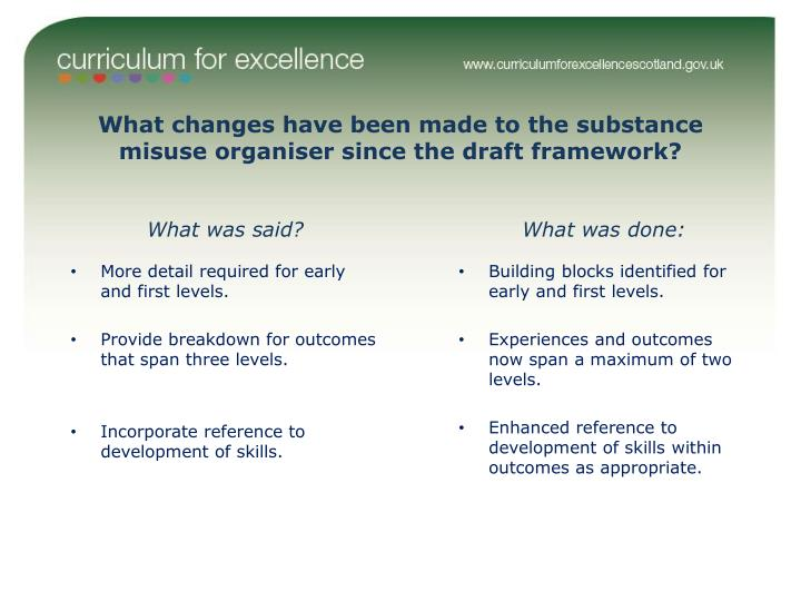 What changes have been made to the substance misuse organiser since the draft framework?