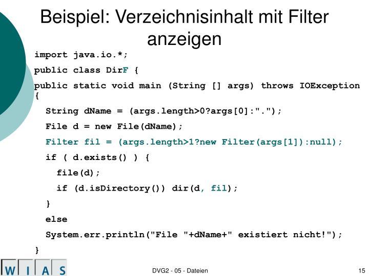 Beispiel: Verzeichnisinhalt mit Filter anzeigen