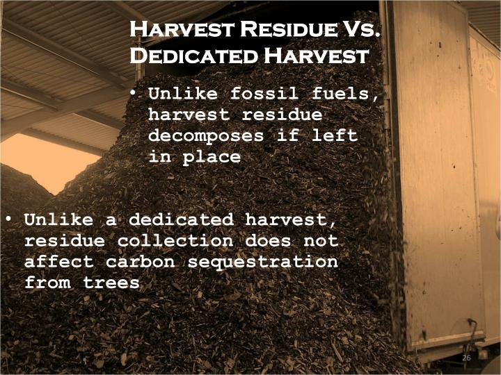Harvest Residue Vs. Dedicated Harvest