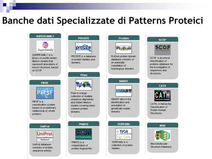 Banche dati Specializzate di Patterns Proteici