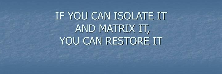 IF YOU CAN ISOLATE IT