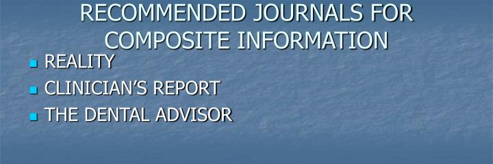 RECOMMENDED JOURNALS FOR COMPOSITE INFORMATION