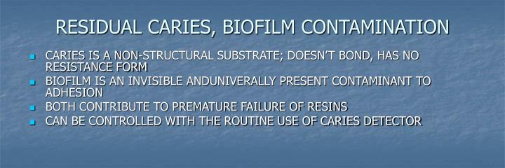 RESIDUAL CARIES, BIOFILM CONTAMINATION