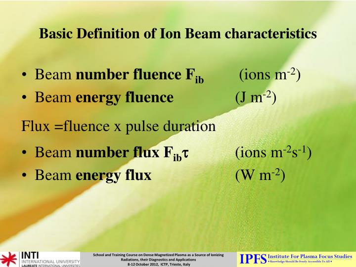 Basic Definition of Ion Beam characteristics
