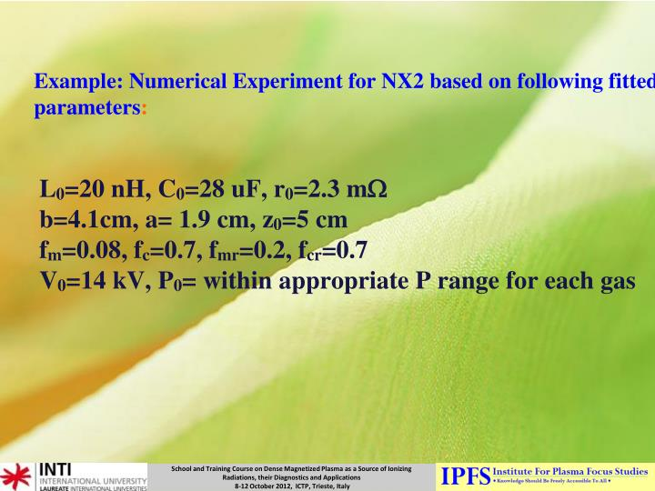 Example: Numerical Experiment for NX2 based on following fitted parameters